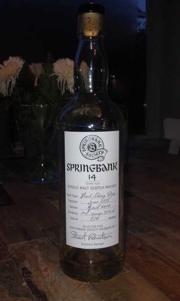 Springbank 14 from a fresh Sherry Pipe