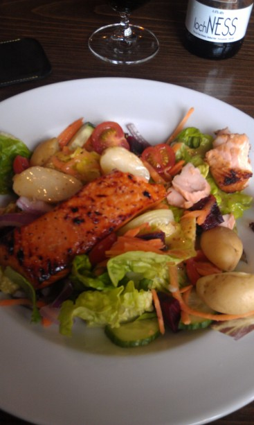 Fiddler's' Whisky Glazed Salmon Salad. Delicious