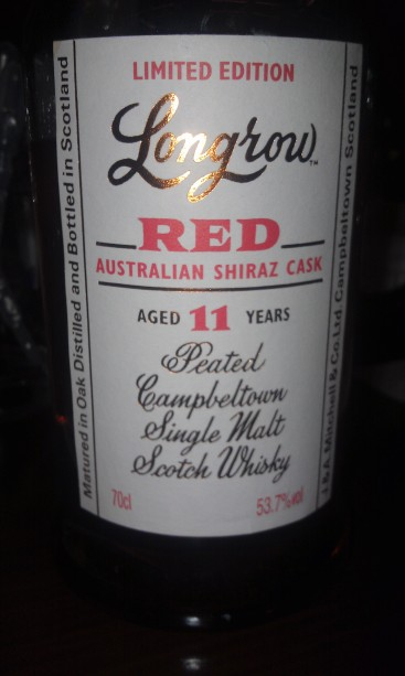 Longrow Red, 11 year old. Double Matured in an Australian Shiraz Cask