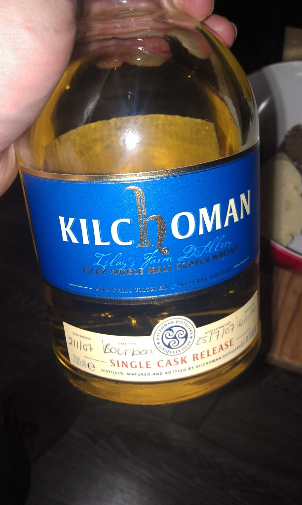 Kilchoman Single Cask. Way too much alcohol