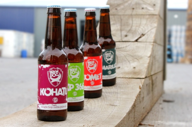 All four bottles in an arty-farty short