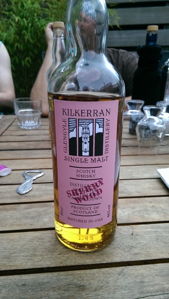 A new Kilkerran. Much more peaty than expected. We figured it was Longrow or Bunnahabhain. Very good.