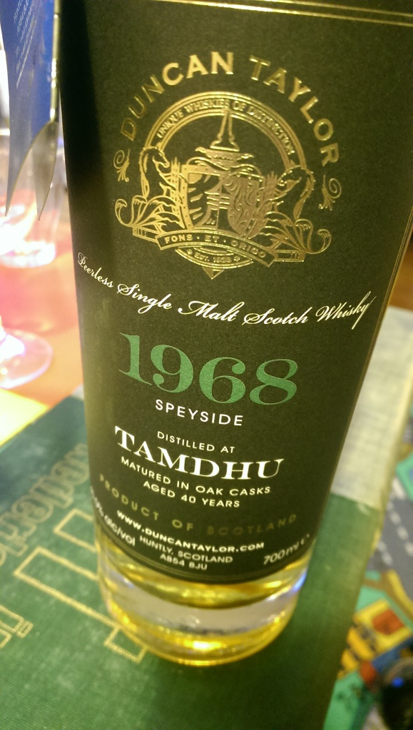 A 40 year old Tamdhu. Awesome nose, but falls completely flat on the finish.