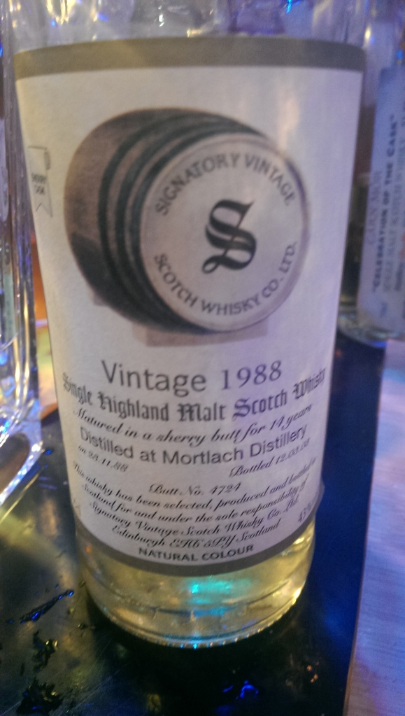 Bourbon matured Mortlach. Not as good as others I've had.
